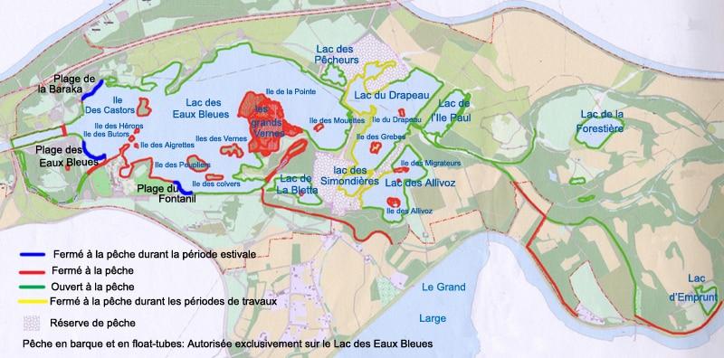 Carte du lac des Eaux Bleues - Miribel Jonage