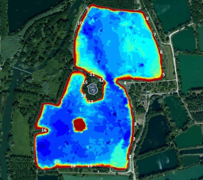 Postes de pêche et topographie des fonds de la Gravière du Grand Fontenay