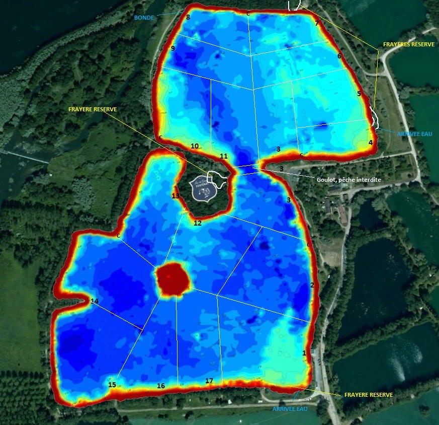 Bathymétrie des fonds du lac du Grand Fontenay