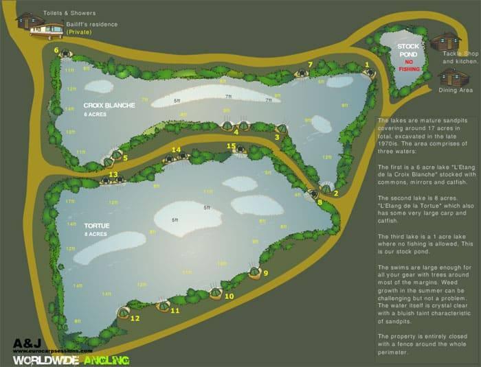 Postes et profondeurs de l'étang de la Croix Blanche
