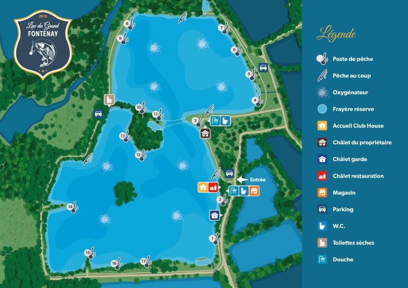 Postes de pêche du plan d'eau du Grand Fontenay