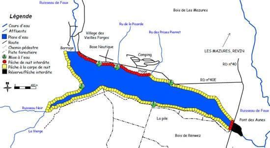 Carte du lac des Vieilles Forges