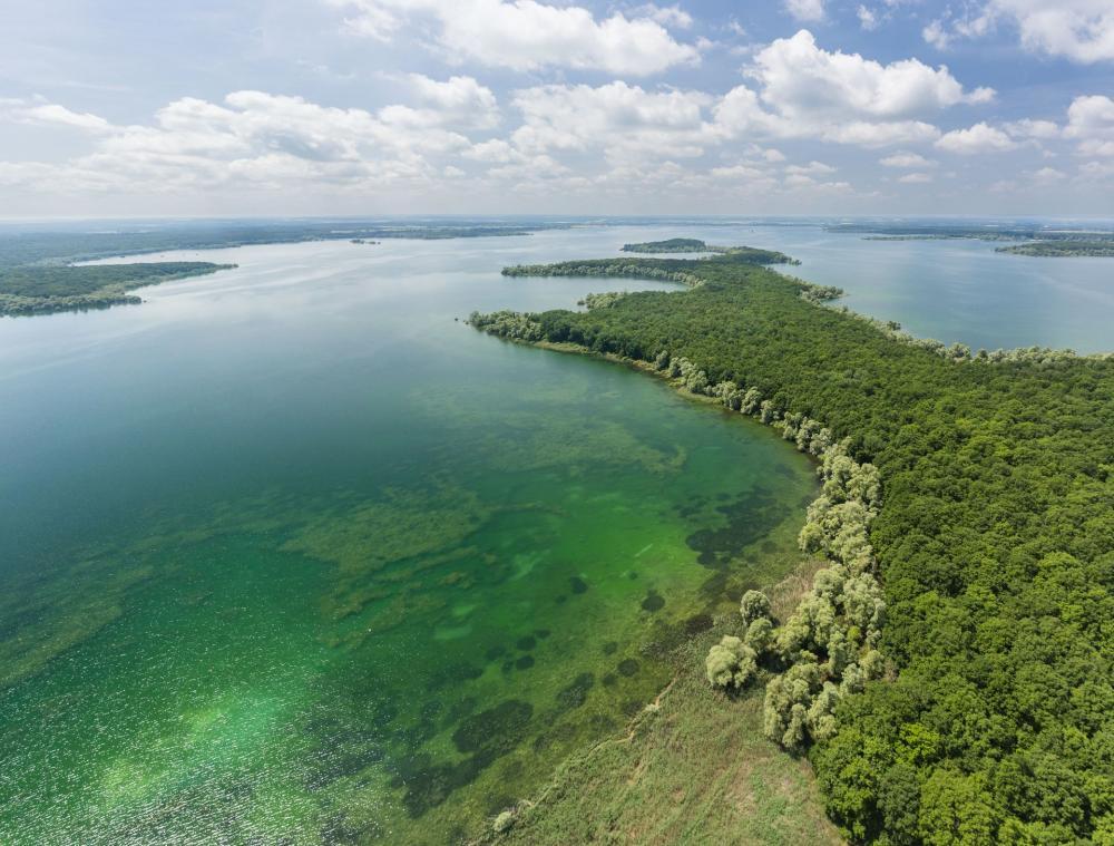 Vue aérienne du lac d'Orient