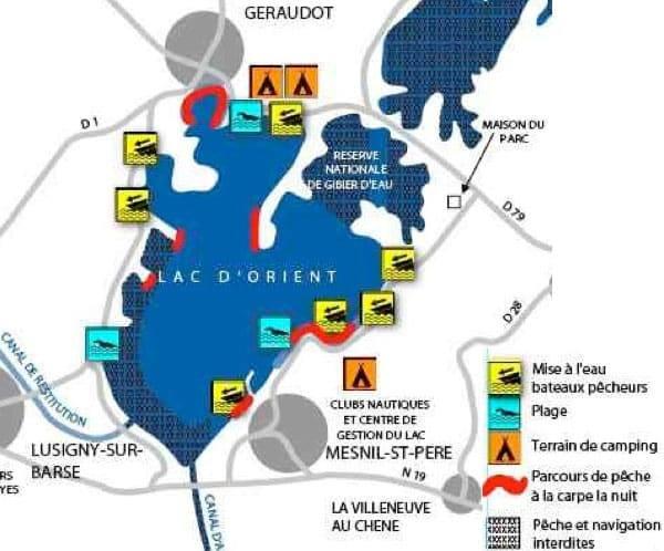 Carte du lac d'Orient