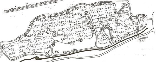 Poste et profondeur de l'étang de Trévoix à Ollainville