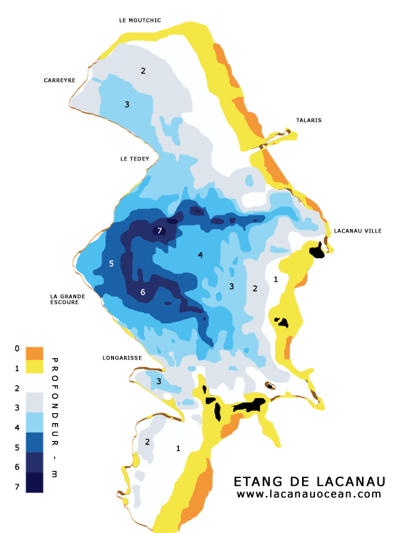 Carte profondeur du lac de lacanau