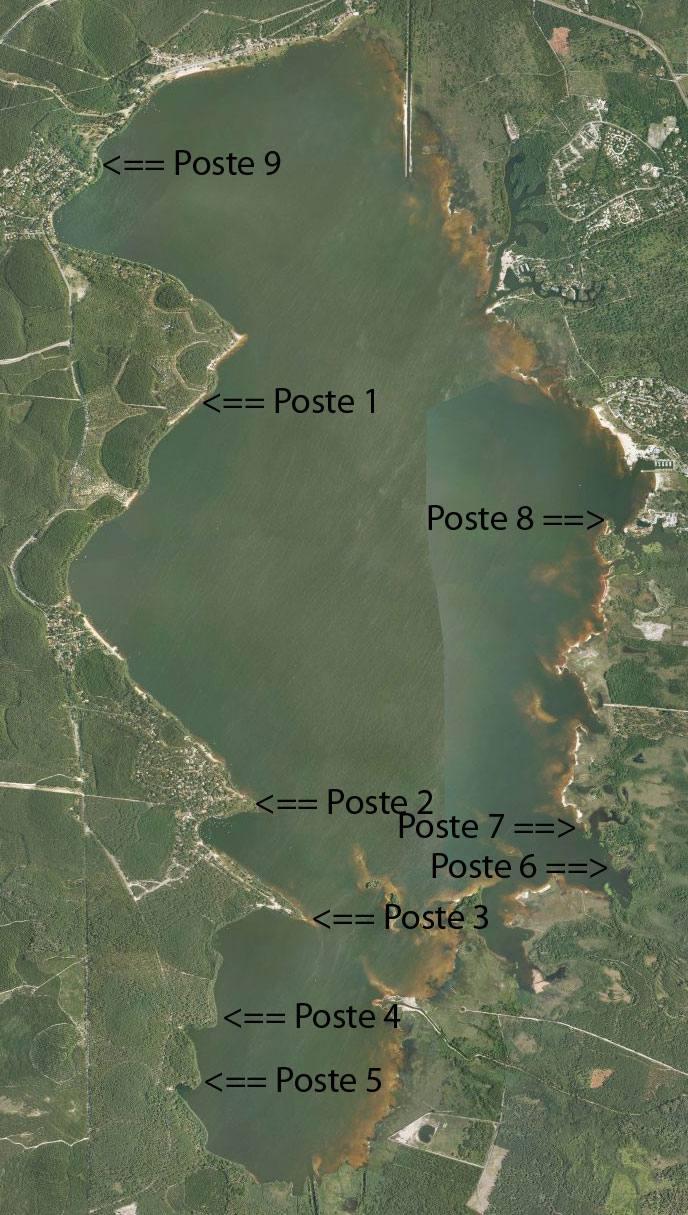Postes de pêche pour pêcher la carpe la nuit au lac de Lacanau
