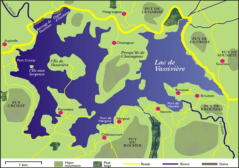 Carte du Lac de Vassivière