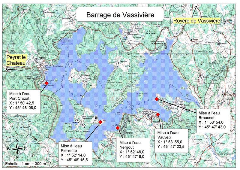 Carte du lac de Vassivière avec emplacement des mises à l'eau