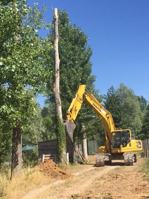 Engins de travaux utilisés pour rénover le lac du Grand Fontenay