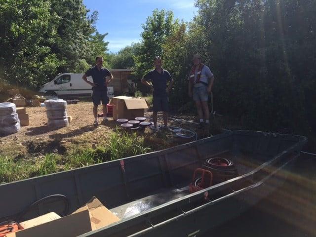 Installation des appareilles de micro bullage au lac du Grand Fontenay