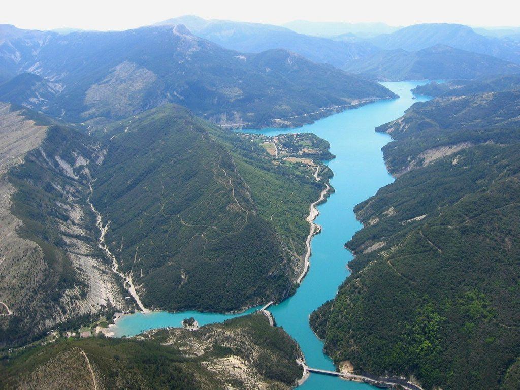 Lac de Castillon - vue aérienne