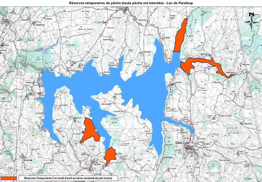 Les 4 réserves du lac de Pareloup
