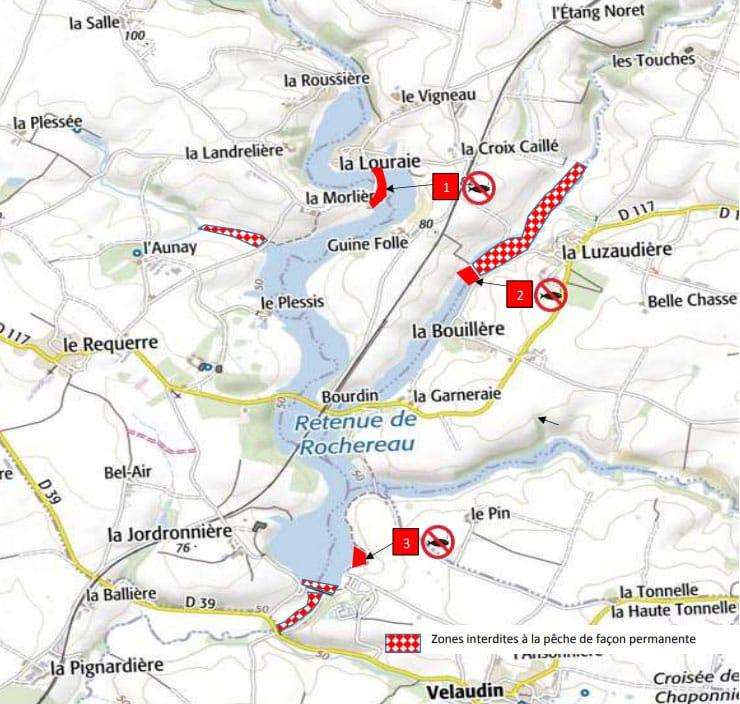 Localisation des 3 réserves du lac de Rochereau