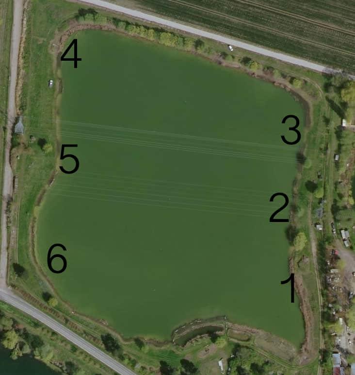 Position des 6 postes de l'étang du Jonquoy