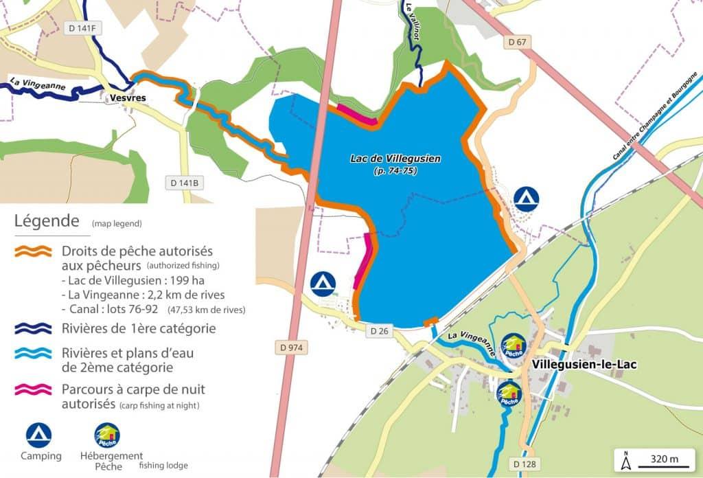 Le lac de la Vingeanne ou de Villegusien offre 2 secteurs de pêche à la carpe de nuit sur 400m au total