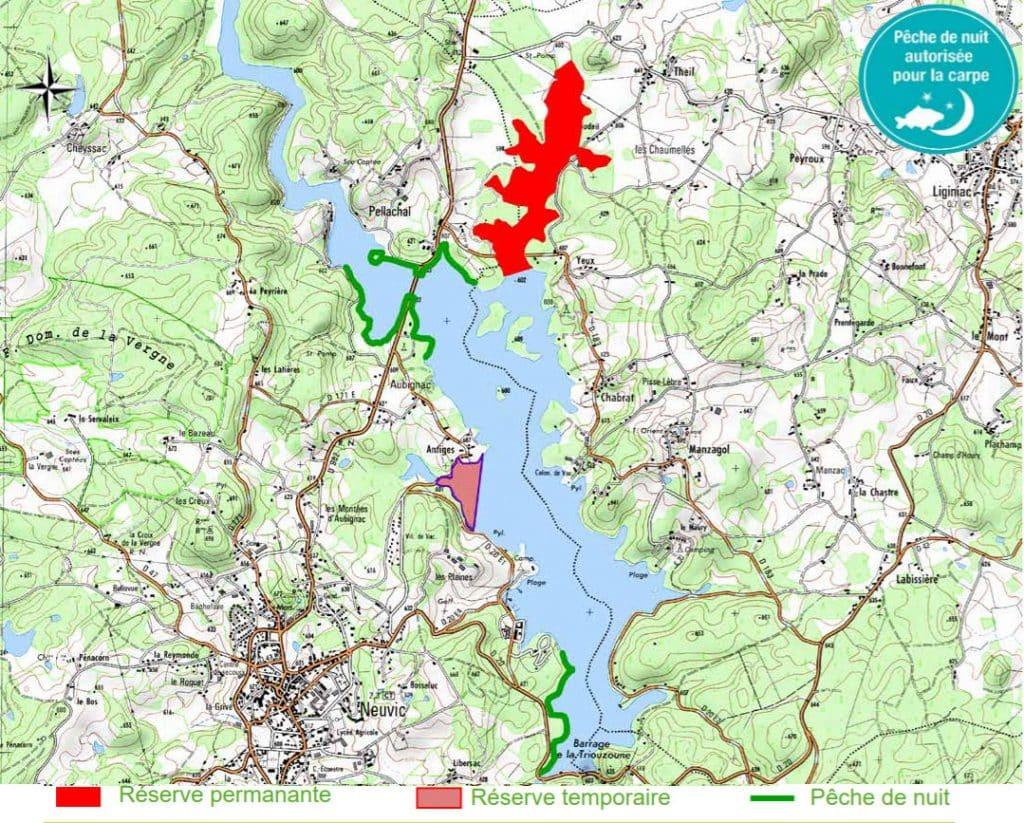 Carte du lac situant les zones ouvertes à la pêche à la carpe de nuit ainsi que les réserves