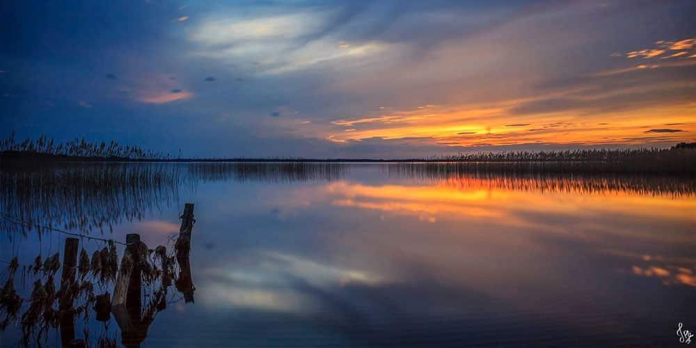 Lac de Cazaux et de Sanguinet couché de soleil