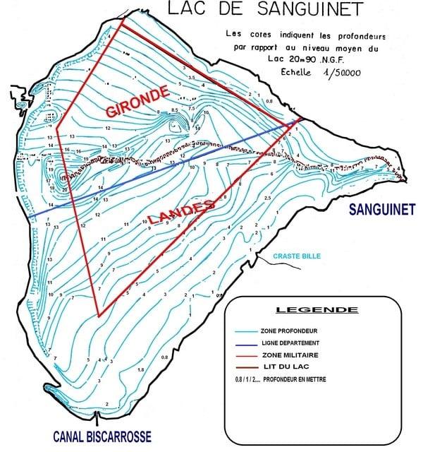 lac de Sanguinet et Cazaux carte des fonds