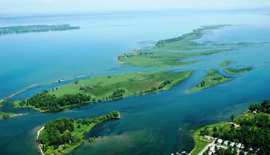 Vue aérienne lac Saint Pierre