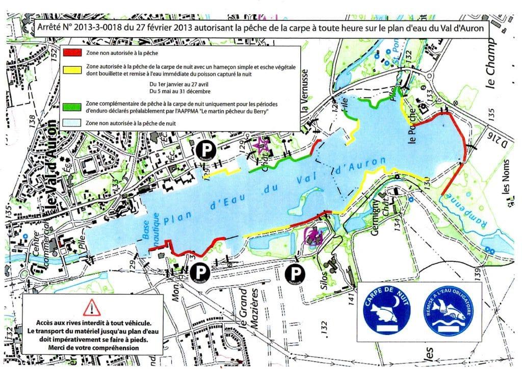 Lac du Val d'Auron : secteur autorisés à la pêche à la carpe de nuit