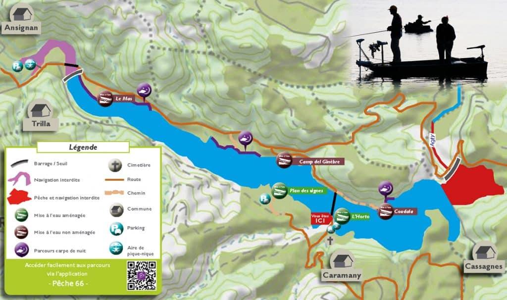 plan zones de pêche ouvertes à la carpe de nuit du lac de Caramany