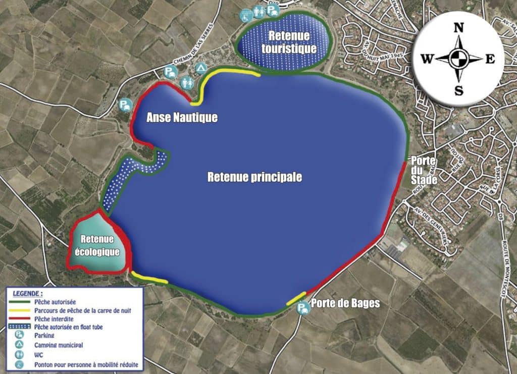 Localisation des parcours du lac de Villeneuve de la Raho