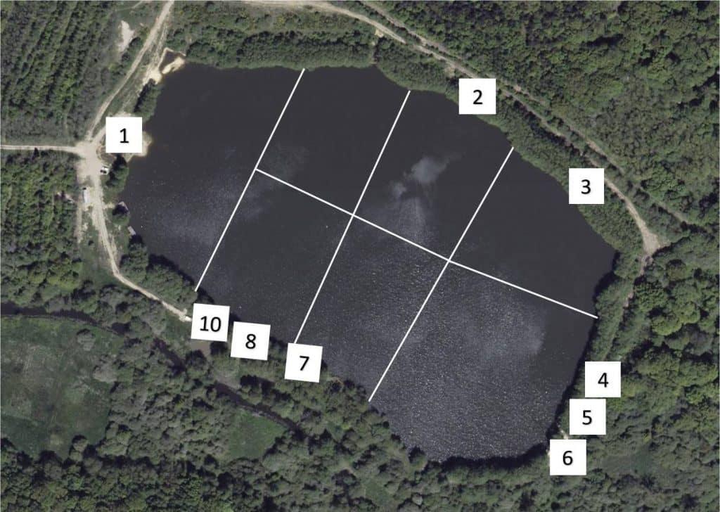 Situation des postes de l'étang des Abysses