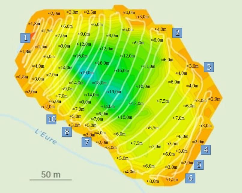Topographie de l'étang des Abysses