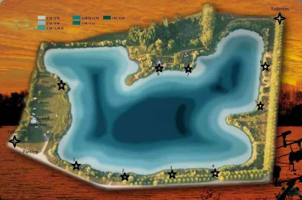 Postes et profondeur de l'étang d'Authentic