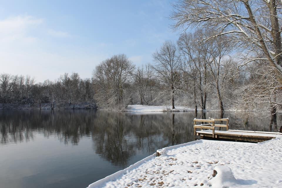 étang de la Grande Ile sous la neige
