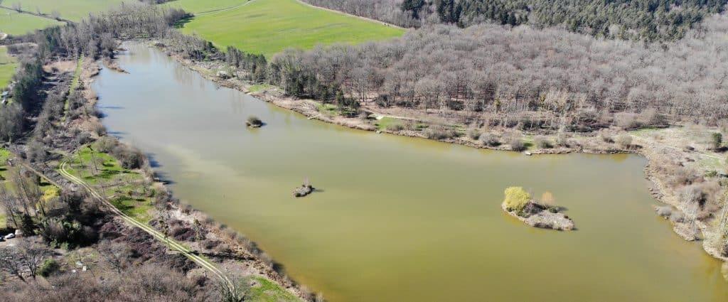 vue aérienne de l'étang de Pin