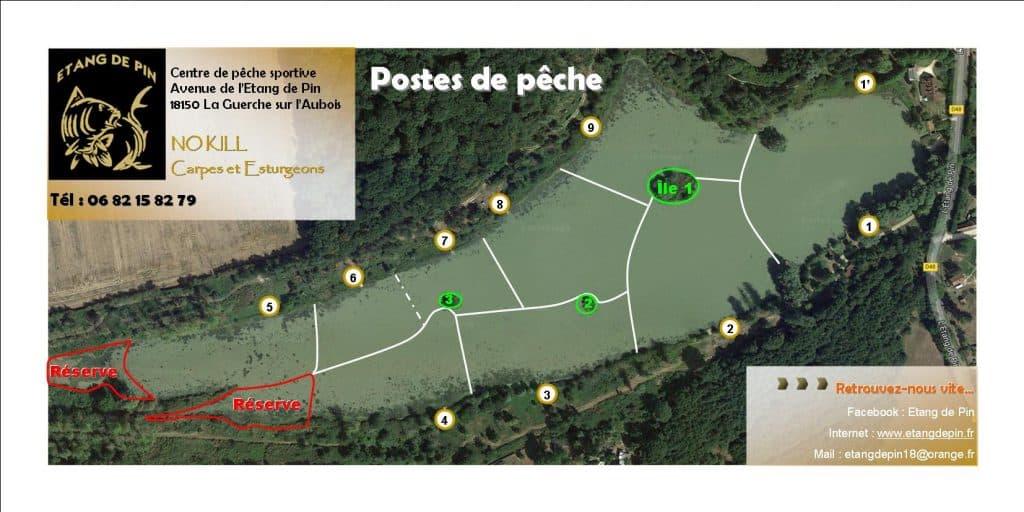 Situation des postes et réserves de pêche de l'étang de Pin