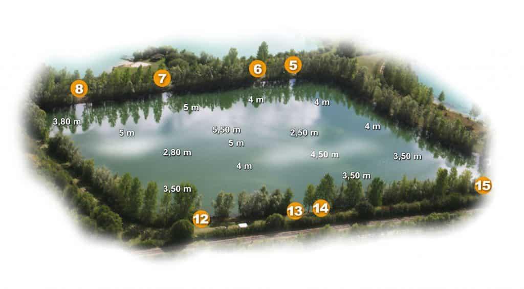 Postes et profondeurs de l'étang du Clos des Lacs